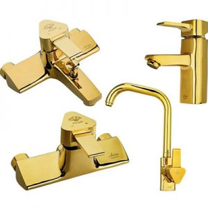 ست ۴ تکه شیرآلات آویسا مدل هلیا طلایی Gold